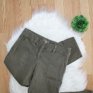 Loft Army Green Cropped Khakis 4